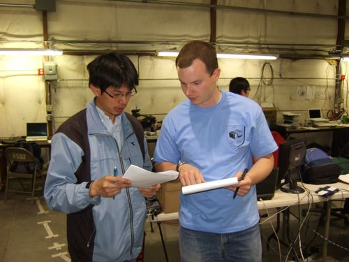 Zhong-Kai and Mark go over the preflight checklist.