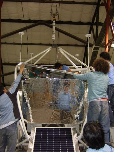 Attaching the final sun shield.